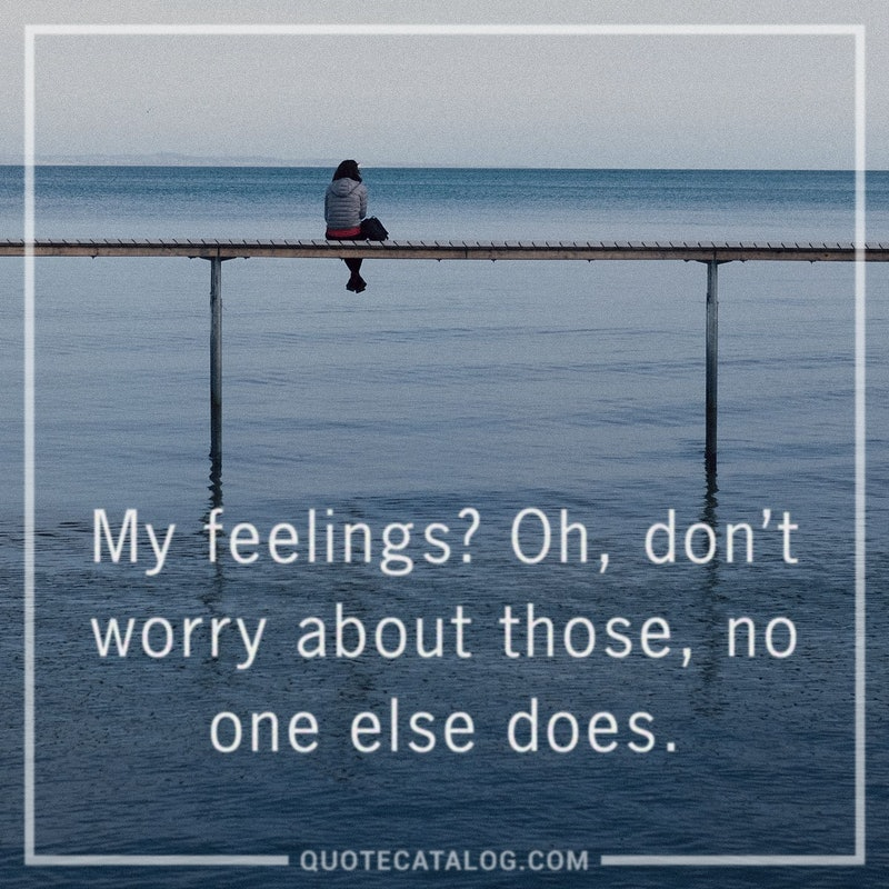 Illustrated art for this quote: My feelings? Oh, don\'t worry about those, no one else does.