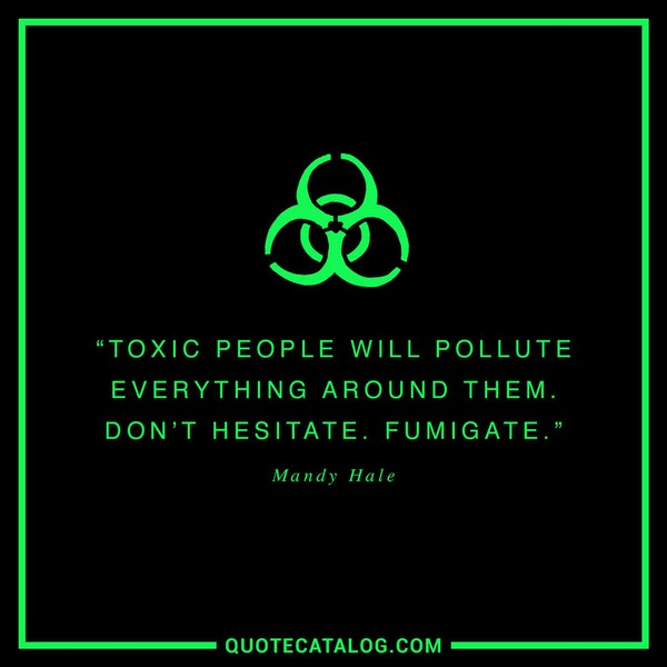 Toxic people will pollute everything around them. Don't hesitate. Fumigate. — Mandy Hale