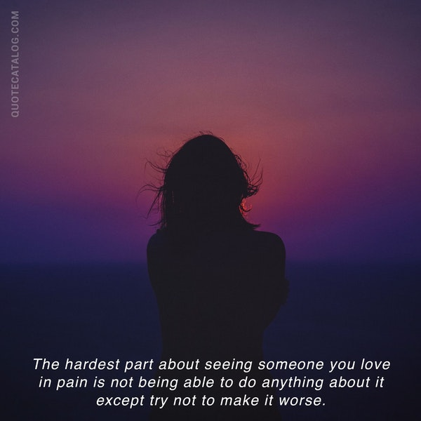 The hardest part about seeing someone you love in pain is not being able to do anything about it except try not to make it worse. — Toby