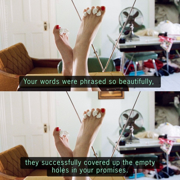 Your words were phrased so beautifully, they successfully covered up the empty holes in your promises. — Stephanie Anne