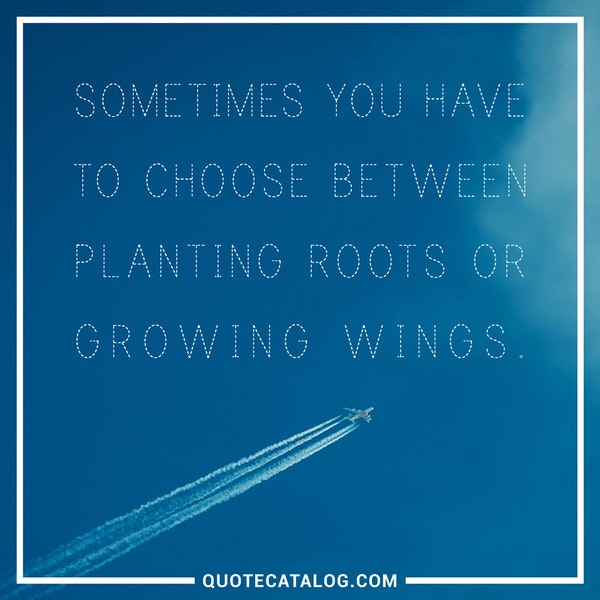Sometimes you have to choose between planting roots or growing wings. — Unknown