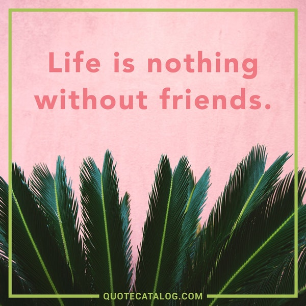 Life is nothing without friends.