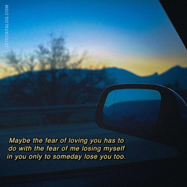 Maybe the fear of loving you has to do with the fear of me losing myself in you only to someday lose you too. — Ava Shêzori