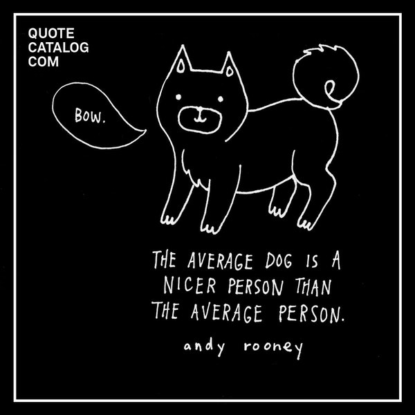 The average dog is a nicer person than the average person. — Andy Rooney