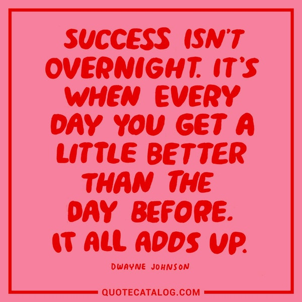 Success isn't overnight. It's when everyday you get a little better than the day before. It all adds up — Dwayne Johnson