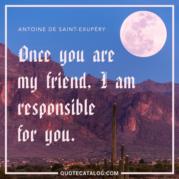 Once you are my friend, I am responsible for you. — Antoine de Saint-Exupéry
