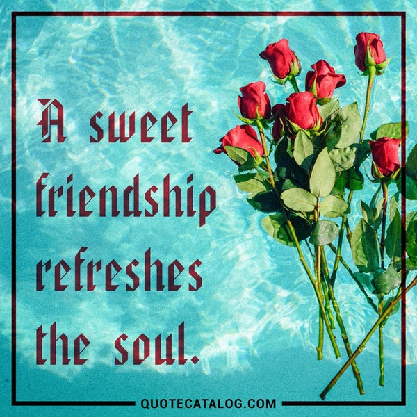 A sweet friendship refreshes the soul. — Unknown