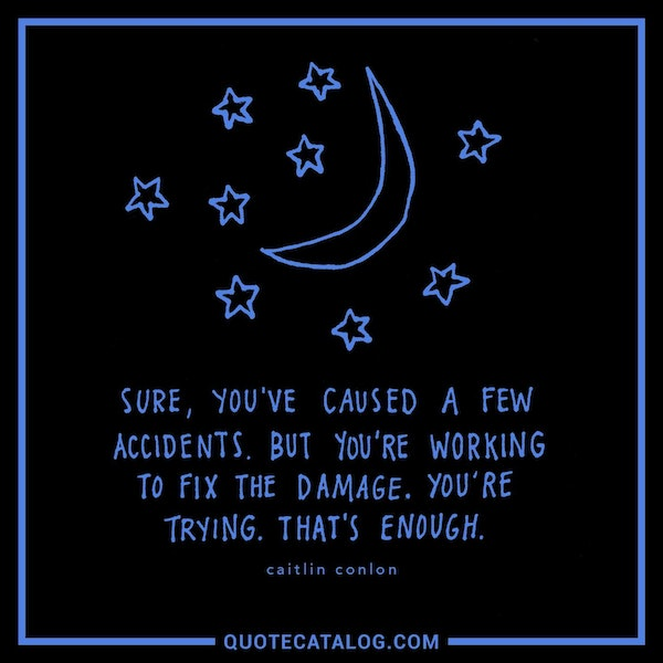 Sure, you've caused a few accidents. But you're working to fix the damage. You're trying. That's enough. — Caitlin Conlon