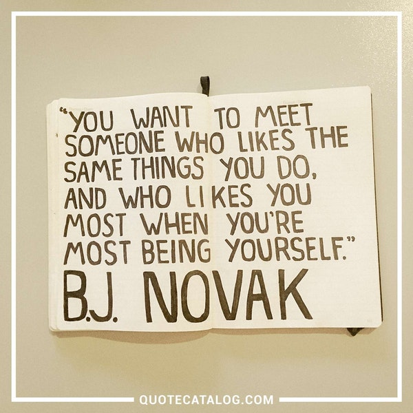 You want to meet someone who likes the same things you do, and who likes you most when you're most being yourself. — B.J. Novak,