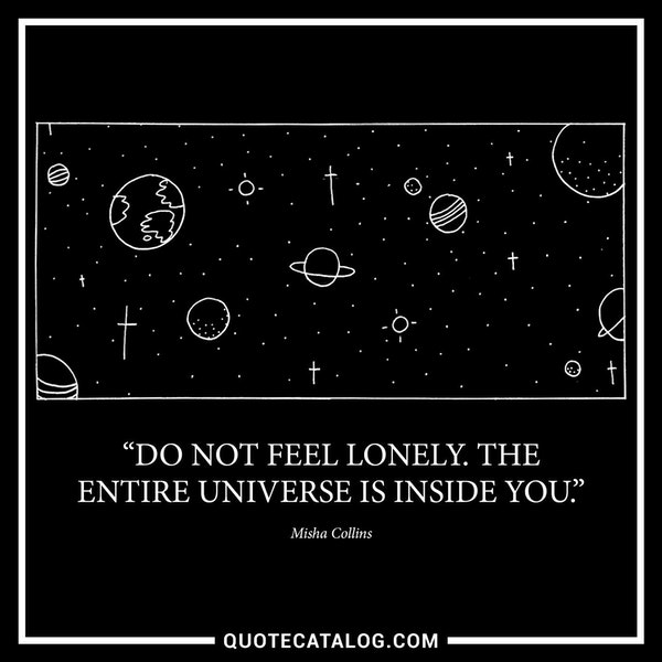 Do not feel lonely. The entire universe is inside you. — Misha Collins