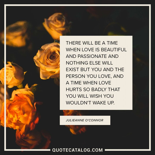 There will be a time when love is beautiful and passionate and nothing else will exist but you and the person you love, and a time when love hurts so badly that you will wish you wouldn't wake up. — Julieanne O'Connor