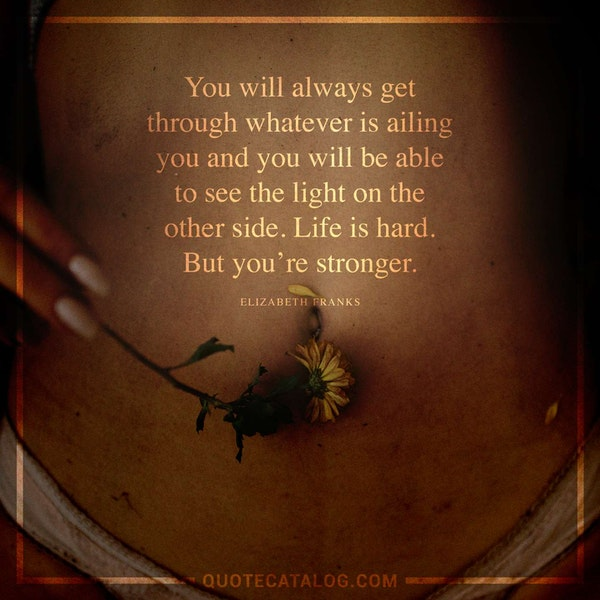 You will always get through whatever is ailing you and you will be able to see the light on the other side. Life is hard. But you're stronger. — Elizabeth Franks