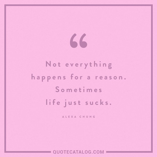 Not everything happens for a reason. Sometimes life just sucks. — Alexa Chung