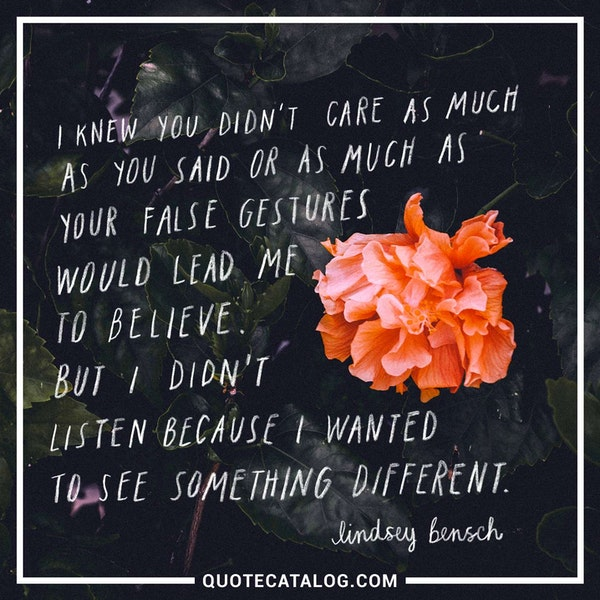 I knew you didn't care as much as you said or as much as your false gestures would lead me to believe. But I didn't listen because I wanted to see something different. — Lindsey Bensch