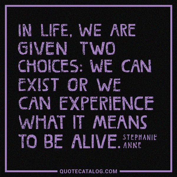 In life we are given two choices: we can exist or we can experience what it means to be alive. — Stephanie Anne
