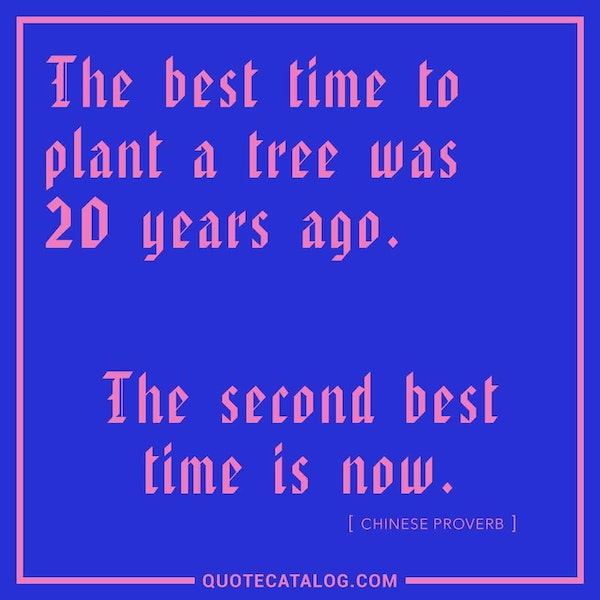 The best time to plant a tree was 20 years ago. The second best time is now. — Chinese Proverb