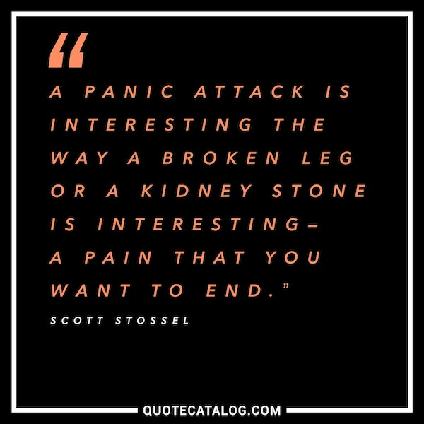A panic attack is interesting the way a broken leg or a kidney stone is interesting—a pain that you want to end. — Scott Stossel