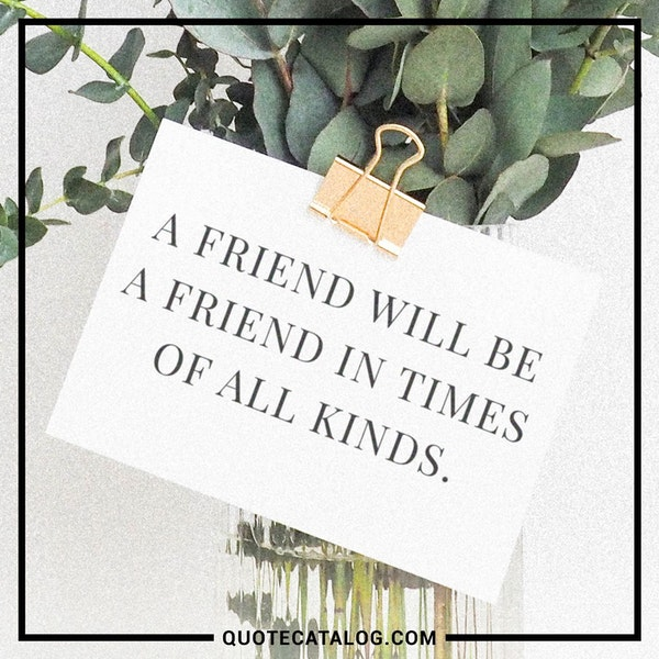 A friend will be a friend in times of all kinds. — Unknown