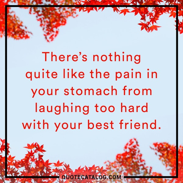 There's nothing quite like the pain in your stomach from laughing too hard with your best friend. — Unknown