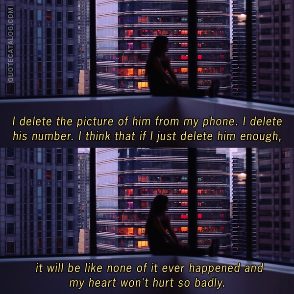 I delete the picture of him from my phone. I delete his number. I think that if I just delete him enough, it will be like none of it ever happened and my heart won't hurt so badly. — Jenny Han