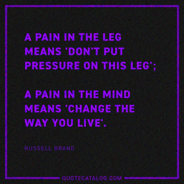 A pain in the leg means 'don't put pressure on this leg'; a pain in the mind means 'change the way you live'. — Russell Brand