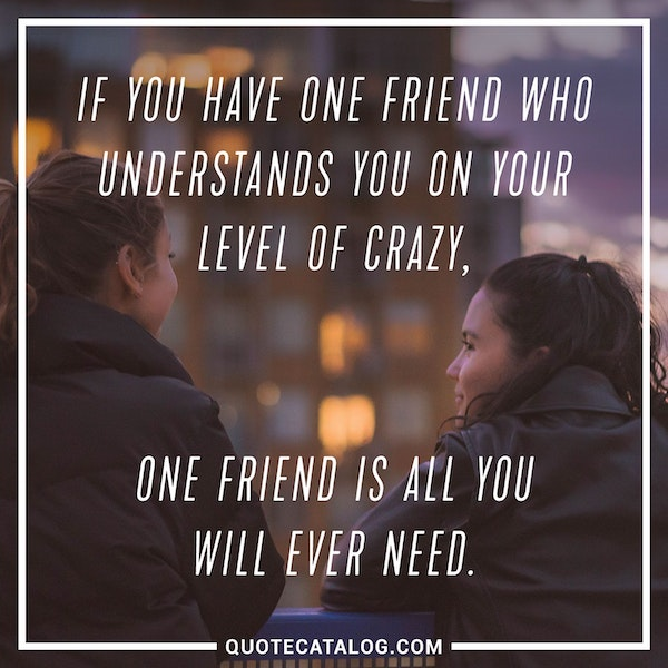 If you have one friend who understands you on your level of crazy, one friend is all you will ever need. — Unknown