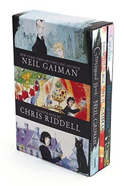Neil Gaiman/Chris Riddell 3-Book Box Set: Coraline; The Graveyard Book; Fortunately, the Milk