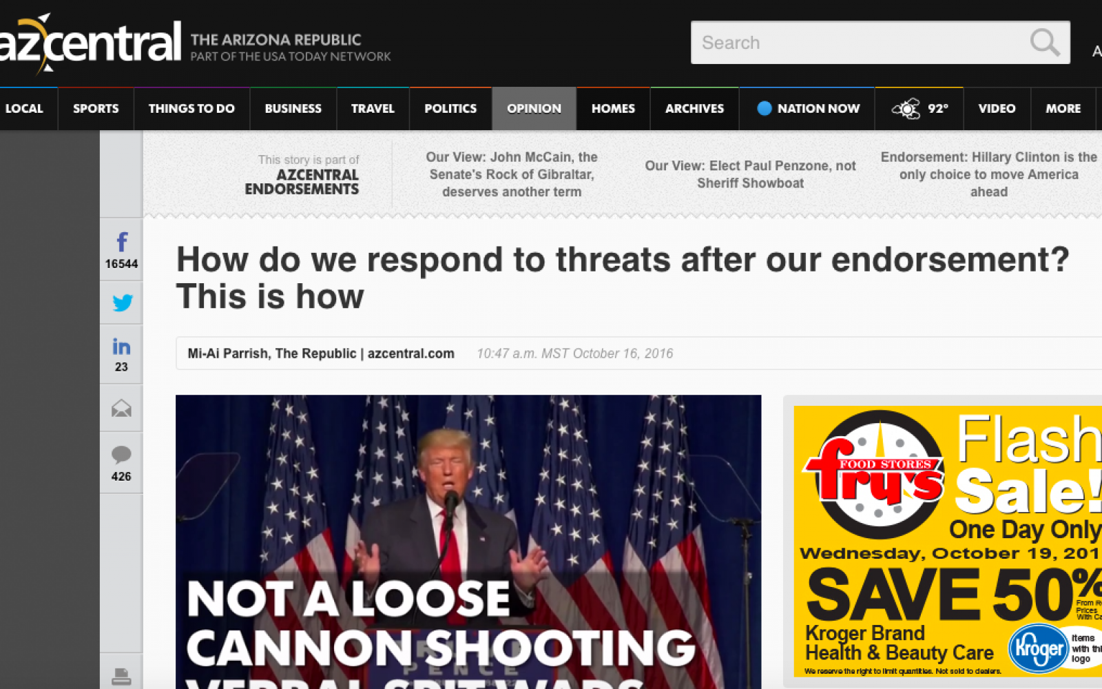 'The Arizona Republic' Passionately Responds To Threats Of Violence After Their Endorsement Of Hillary Clinton