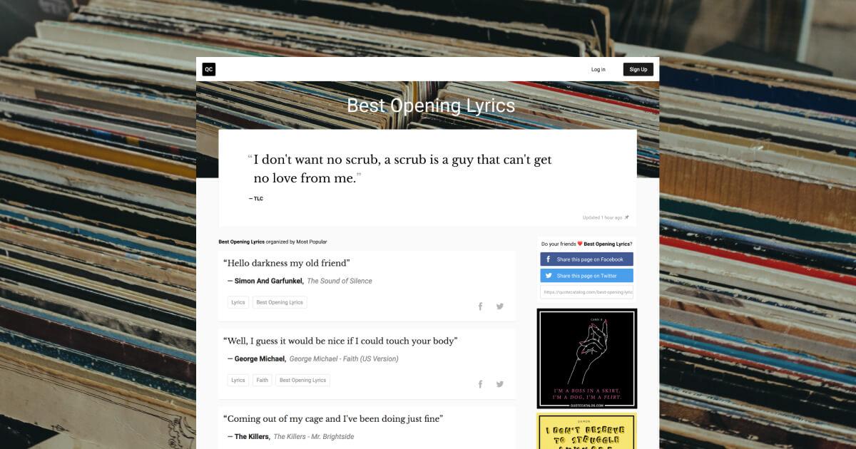 Best Opening Lyrics Quote Catalog